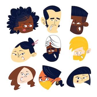 Colección de cabezas de personajes de dibujos animados