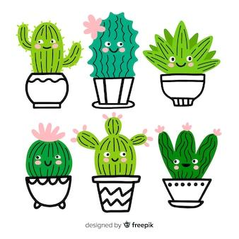 Colección cactus adorables dibujados a mano