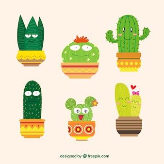 Colección de cactus divertido