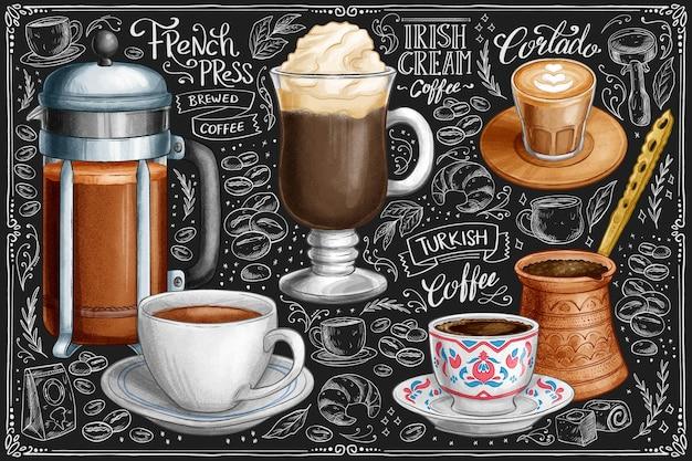 Colección café pizarra dibujada a mano
