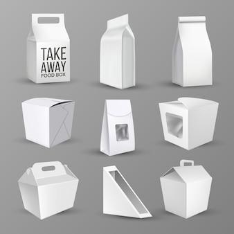 Colección de cajas para alimentos y productos.