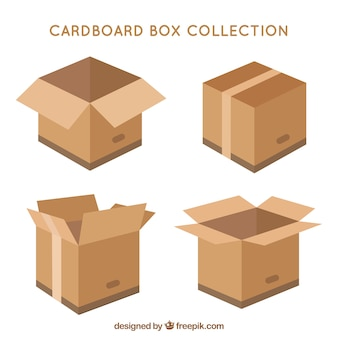Colección de cajas de cartón para envío en estilo plano