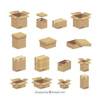 Colección de cajas de cartón para envío