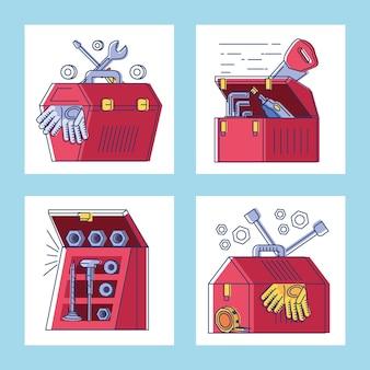 Colección de cajas de herramientas de construcción mecánica