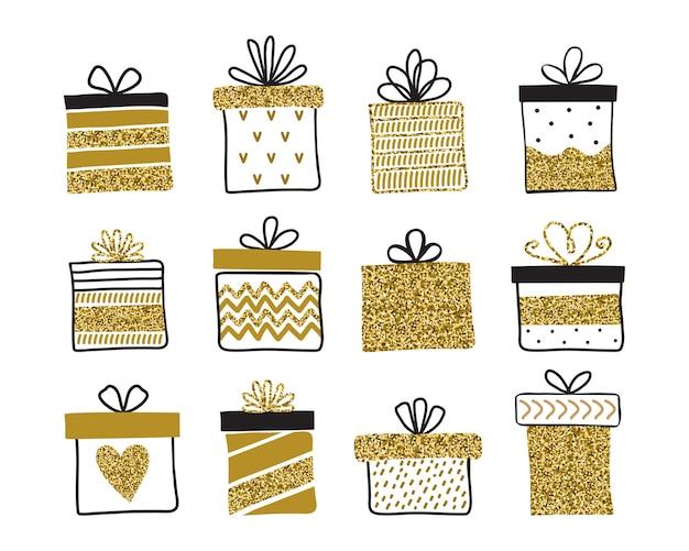 Colección de cajas de regalo aislado en blanco