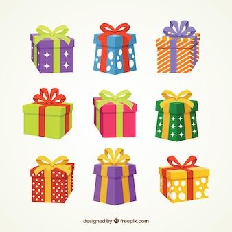 Colección de cajas de regalos con lazo