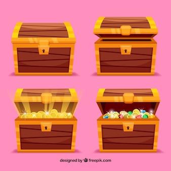 Colección de cajas de tesoro abierto y cerrado