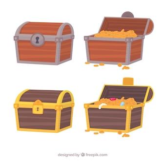 Colección de cajas del tesoro antiguas con diseño plano