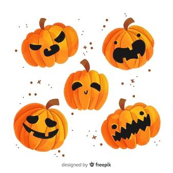 Colección de calabaza de halloween tallada en acuarela