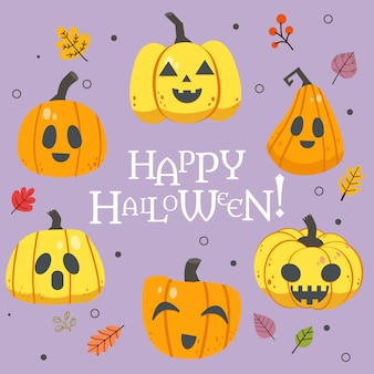 La colección de calabaza de halloween con texto de feliz halloween con hojas de otoño en estilo vector plano.
