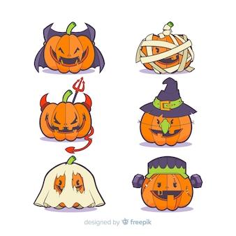 Colección de calabazas disfrazadas de halloween