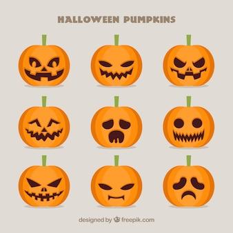 Colección de calabazas espeluznantes para halloween