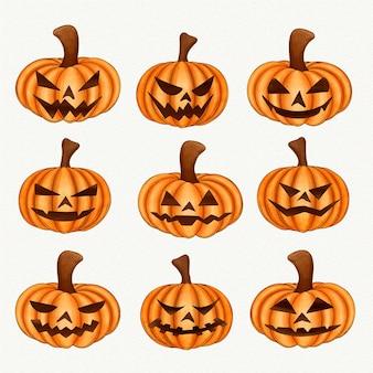 Colección de calabazas de halloween en acuarela