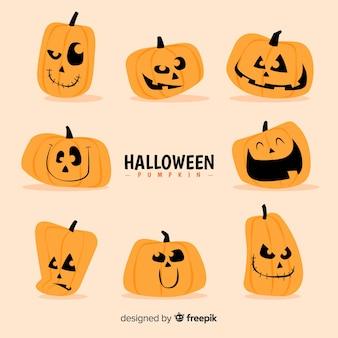 Colección de calabazas de halloween con caras diferentes