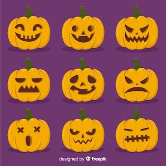 Colección de calabazas de halloween dibujadas a mano