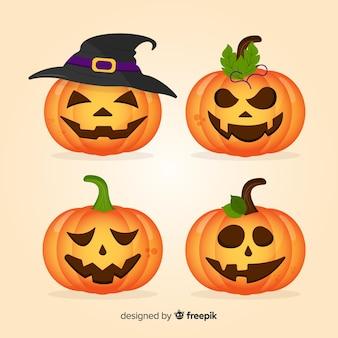 Colección de calabazas de halloween en diseño plano