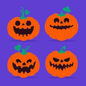 Colección de calabazas de halloween de diseño plano