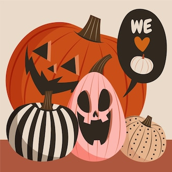 Colección de calabazas de halloween planas dibujadas a mano