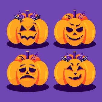 Colección de calabazas de halloween planas