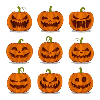 Colección de calabazas halloween sobre fondo blanco.