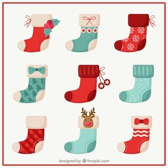 Colección de calcetines bonitos de navidad