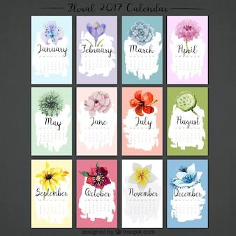 Colección de calendario 2017 de flores de acuarela