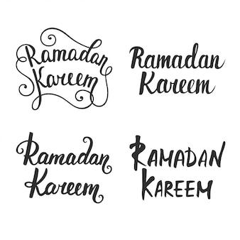 Colección de caligrafía moderna de ramadán kareem.