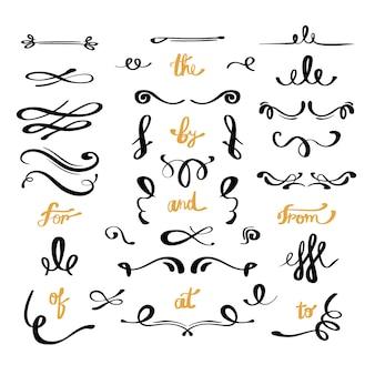 Colección caligráfica de adornos de boda