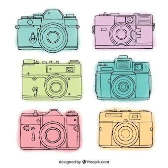 Colección de cámaras con estilo dibujado a mano