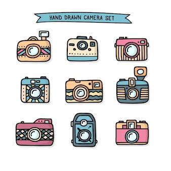 Colección de cámaras de foto dibujadas a mano
