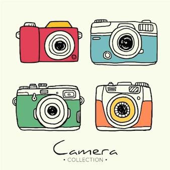 Colección cámaras de fotos dibujada a mano