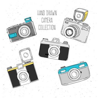 Colección de cámaras de fotos dibujadas a mano