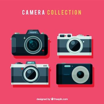 Colección de cámaras de fotos retro con diseño plano