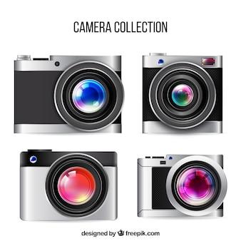 Colección de cámaras modernas realistas con objetivo grande