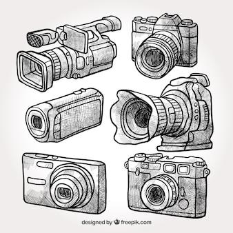Colección de cámaras profesionales dibujadas a mano
