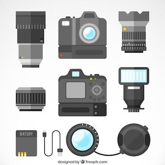 Colección de cámaras profesionales con diseño plano