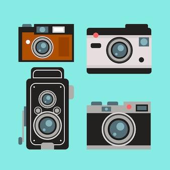 Colección de cámaras retro bonitas en diseño plano