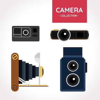 Colección de cámaras retro con diseño plano