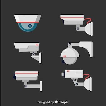 Colección de cámaras de seguridad con diseño plano