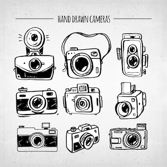 Colección de cámaras vintage divertidas dibujadas a mano