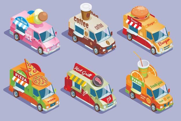 Colección de camiones de comida isométrica para la venta y entrega de pizza de hamburguesas de café helado