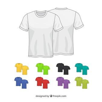 Colección de camisetas de diferentes colores en 2d
