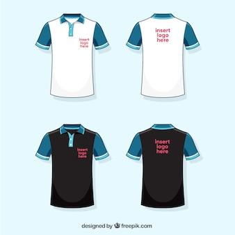 Colección de camisetas de polo blanca, azul y negra
