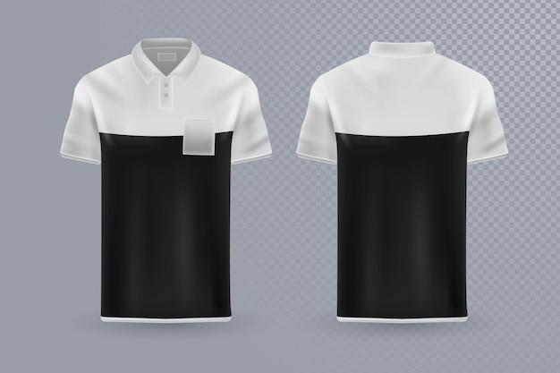 Colección de camisetas polo concepto frontal y posterior