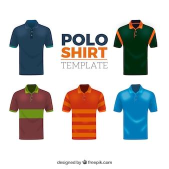 Colección de camisetas de polo masculinas con diferentes patrones