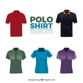 Colección de camisetas de polo masculinas y femeninas con diferentes patrones