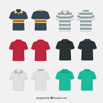 Colección de camisetas de polo con patrones variados