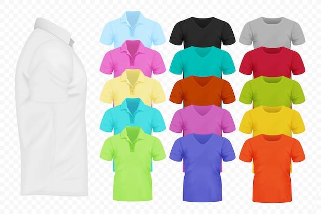 Colección de camisetas realistas.