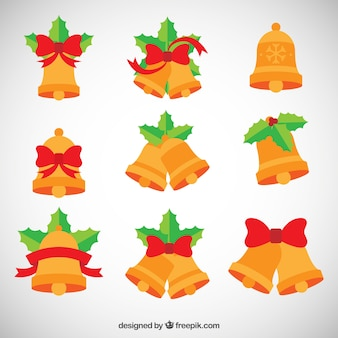 Colección de campanas de navidad planas