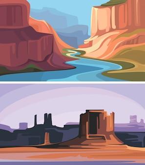 Colección de cañones con montañas rojas. paisajes hermosos de la naturaleza.